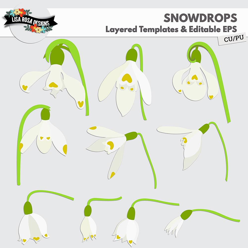 Snowdrops Digital Scrapbooking CU PU Layered Templates and Editable Vector by Lisa Rosa Designs