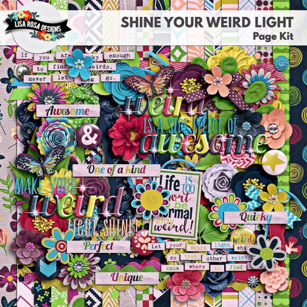Shine Your Weird Light Page Kit by Lisa Rosa Designs